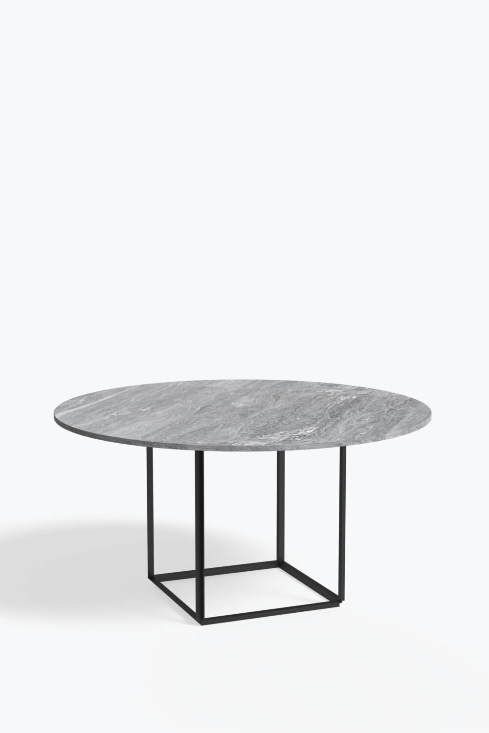 Florence+Dining+Table+Ø145+Iron+Black+Grey+Marble+Side+view
