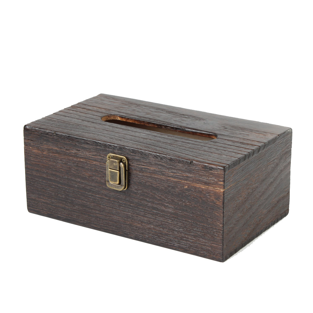 Rustic Wooden Tissue Box Cover Rectangular Homeloo