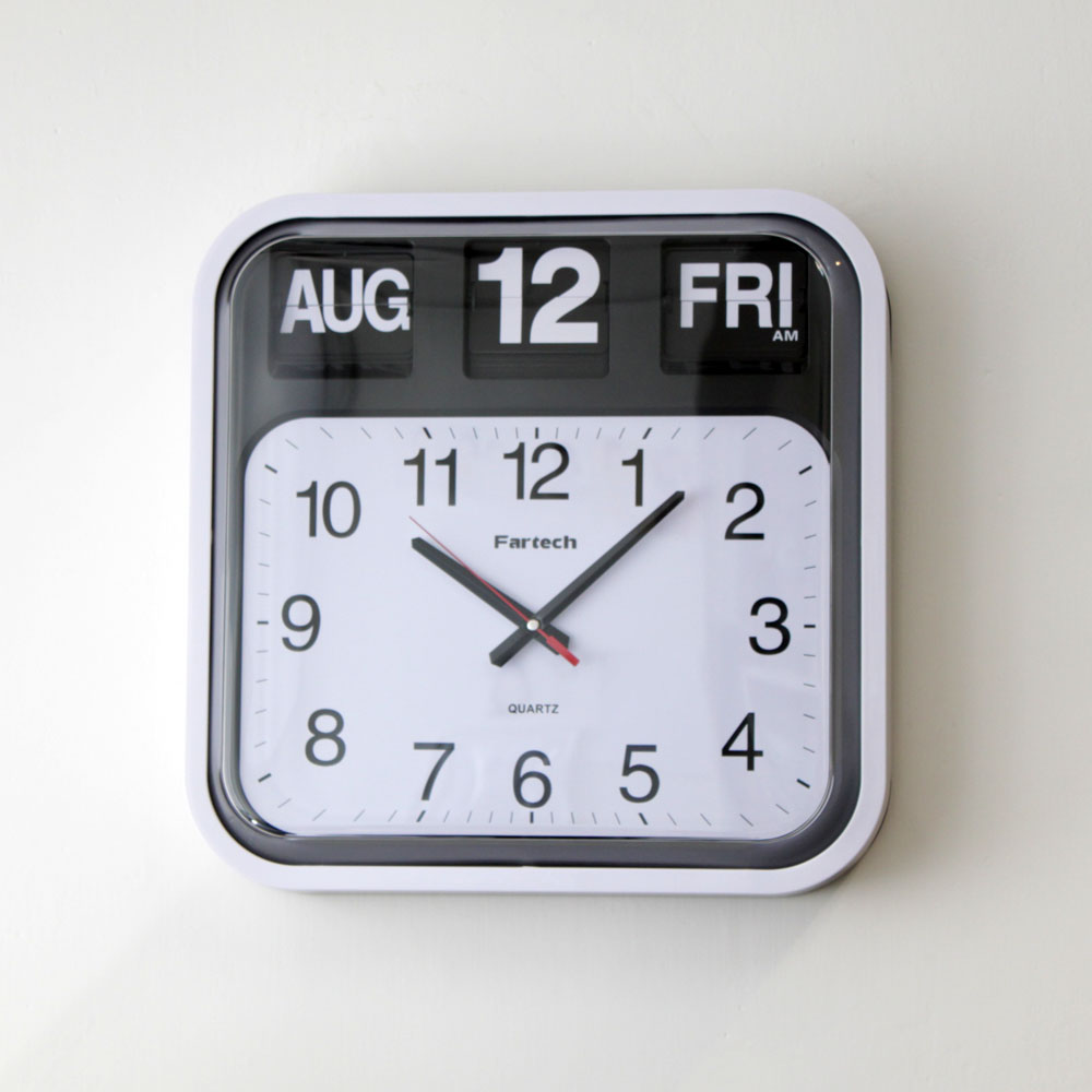 Fartech calendar wall flip clock w big time homeloo White flip clock