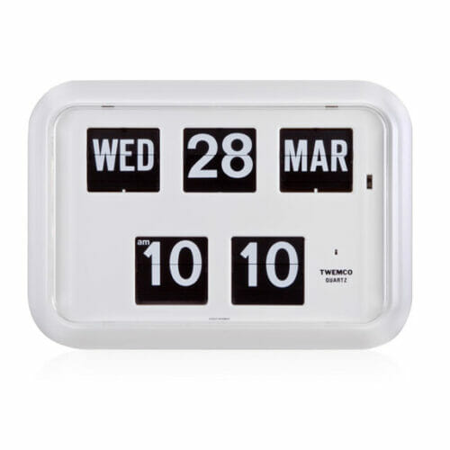 Twemco calendar flip wall clock qd 35 homeloo White flip clock